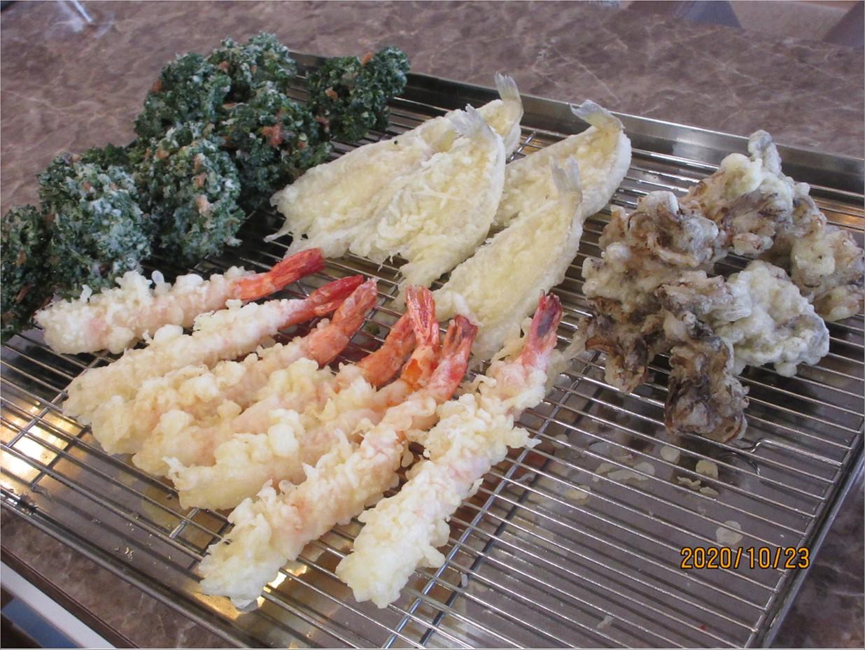 揚げたての天ぷらを堪能しました!!