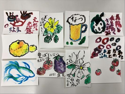みんなで絵手紙描きました!